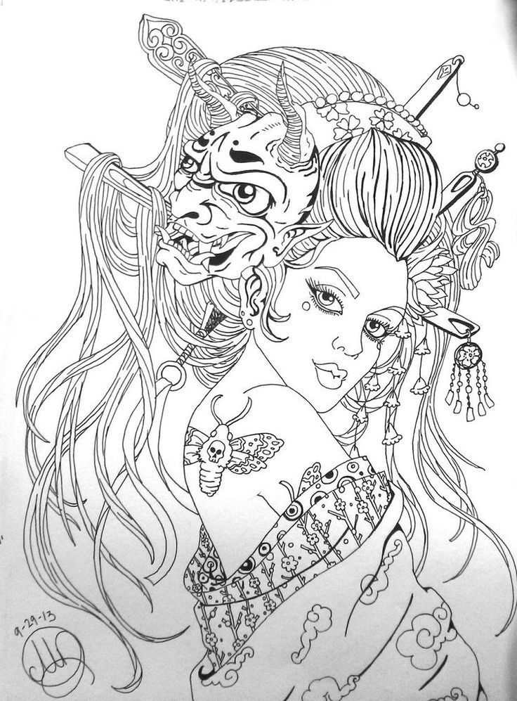 Japanese Geisha Coloring Pages