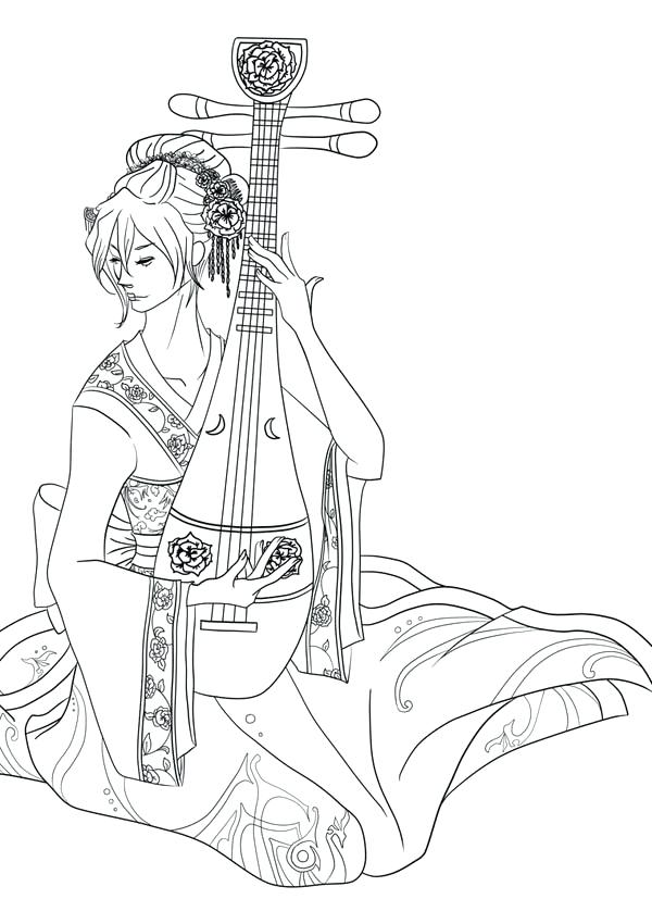 600x827 Geisha Coloring Pages Coloring Pages And Coloring Pages Archives