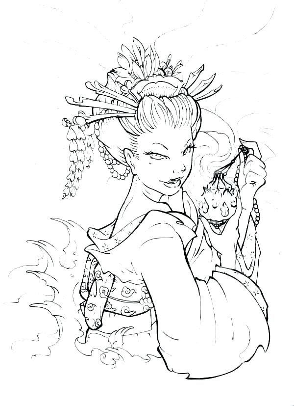 600x827 Geisha Coloring Pages Japan Flag Coloring Page Coloring Pages