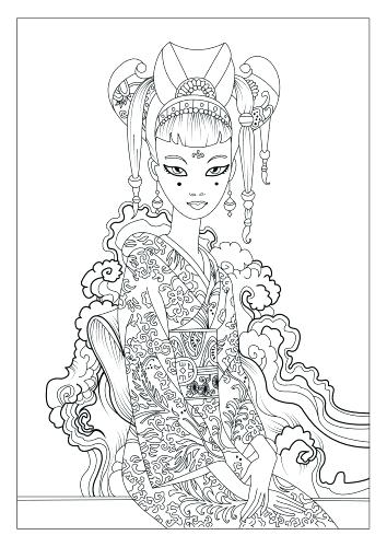 354x500 Geisha Coloring Pages Medium Size Of Coloring Pages Japan Geisha