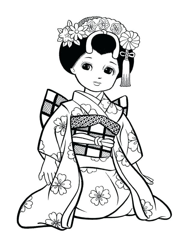 600x834 Girl Geisha Coloring Page Girl Geisha Coloring Page Japanese