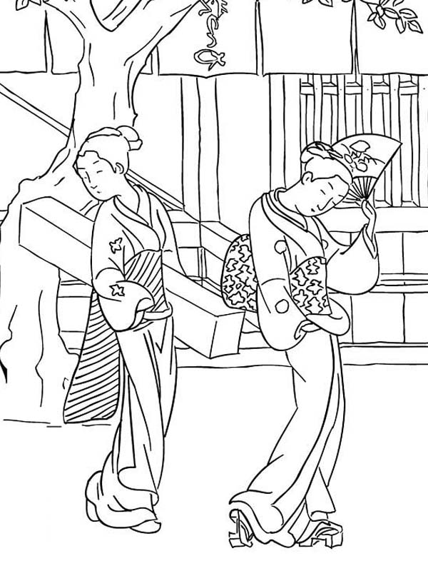 600x800 Japanese Geisha Famous Painting Coloring Pages Batch Coloring