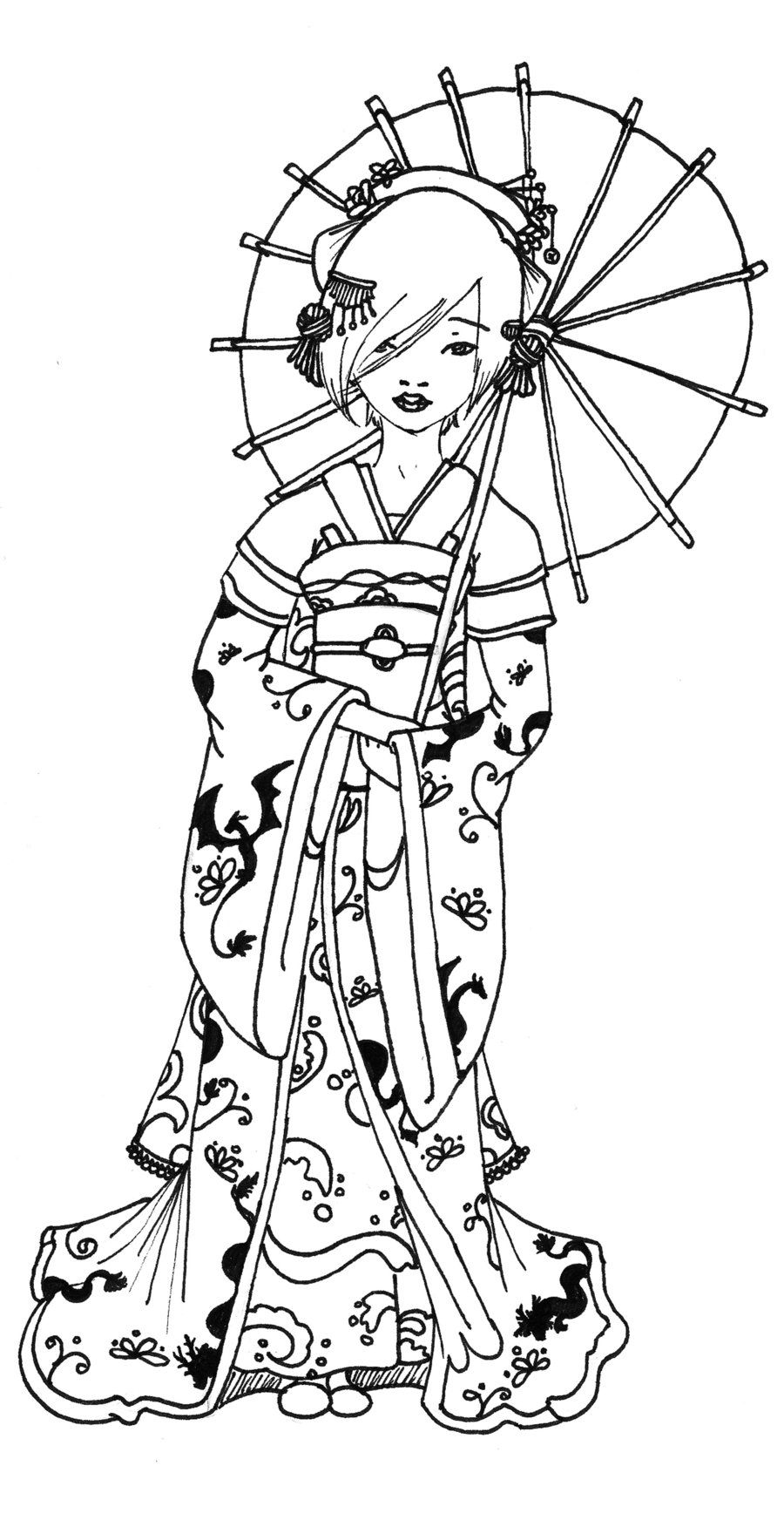 900x1744 Geisha Coloring Pages