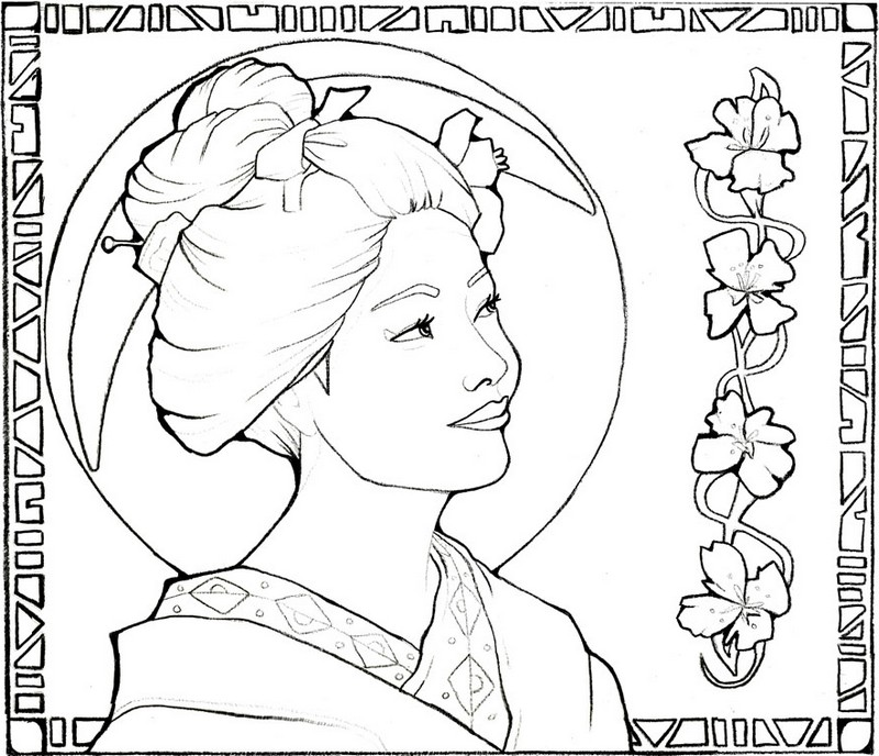 800x688 Adult Coloring Page Japan Japan Geisha Girl In The Moonlight