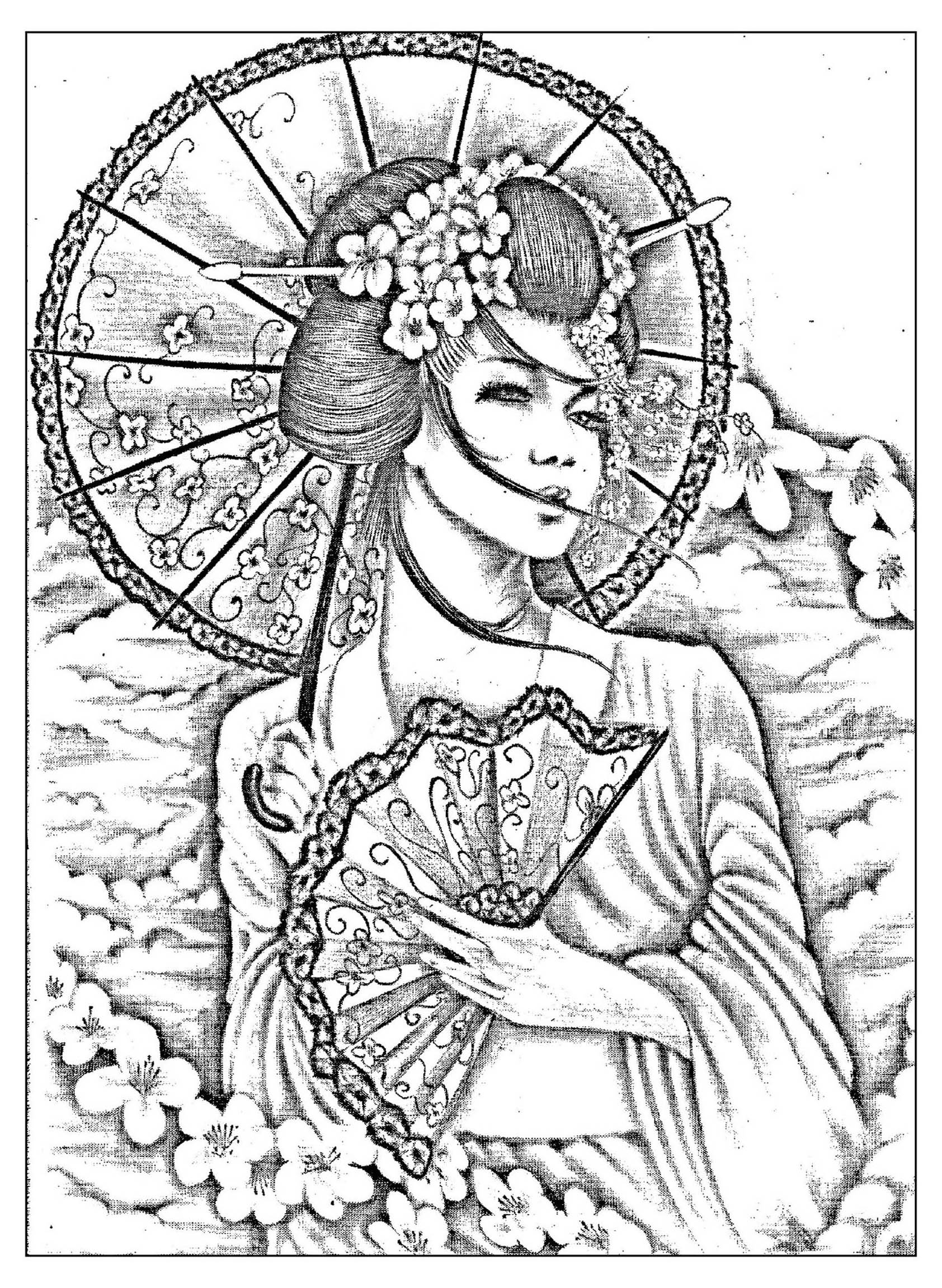 1684x2302 Free Coloring Page Coloring Geisha Japan Tatoo A Beautiful Black