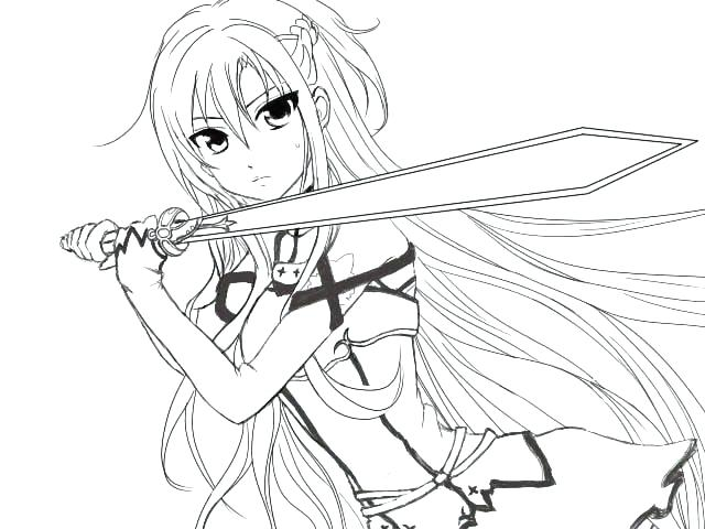 640x480 Free Anime Coloring Pages Of Characters Girl Colouring