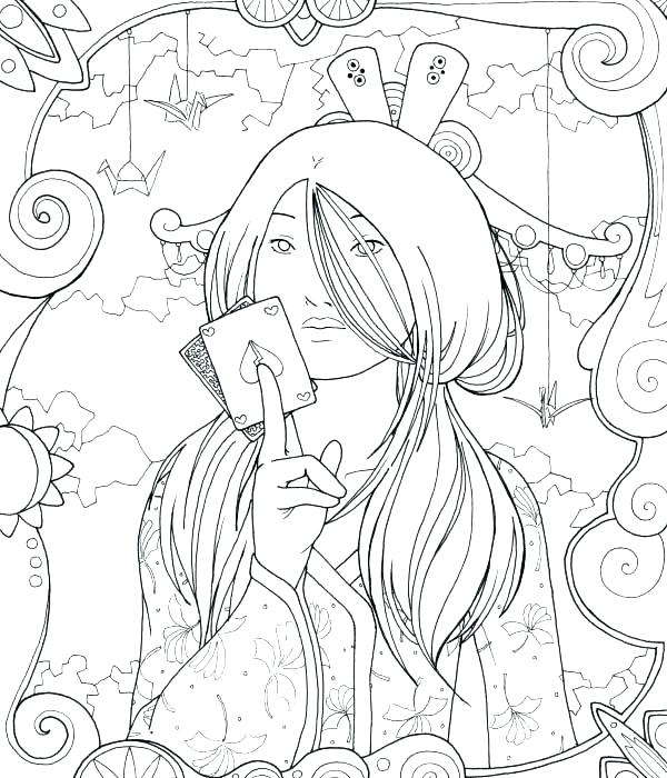 600x700 Geisha Coloring Pages Geisha Coloring Pages Geisha Playing Card