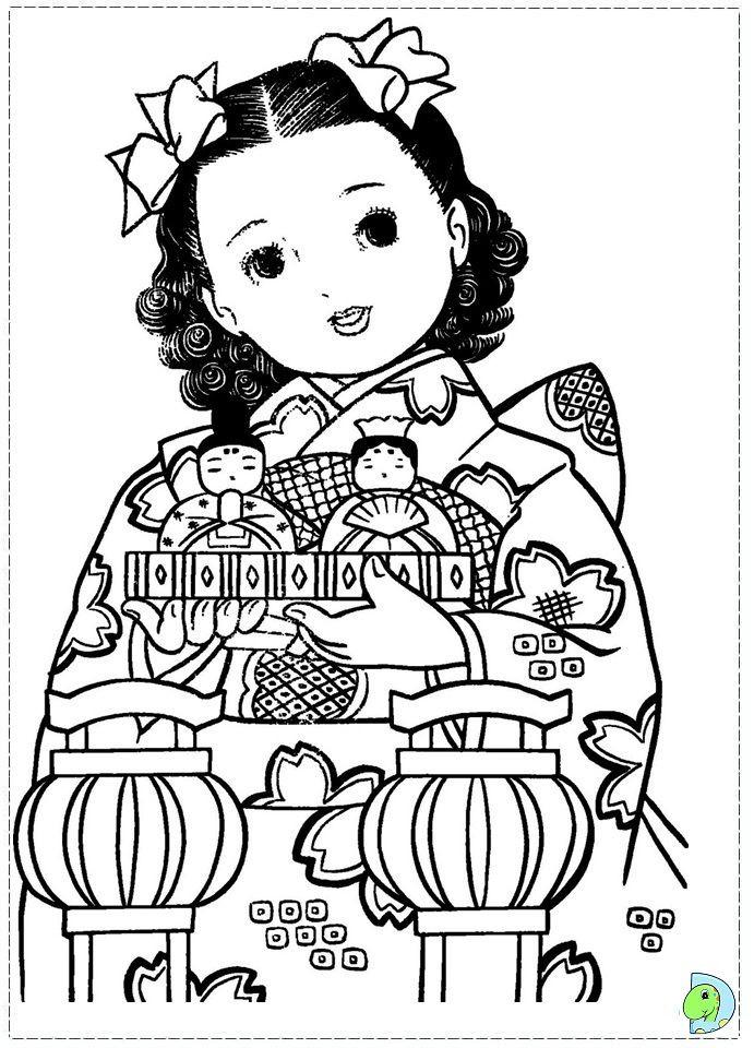 691x960 Japanese Coloring Pages Kimono Elegant Japan Girls Day Images
