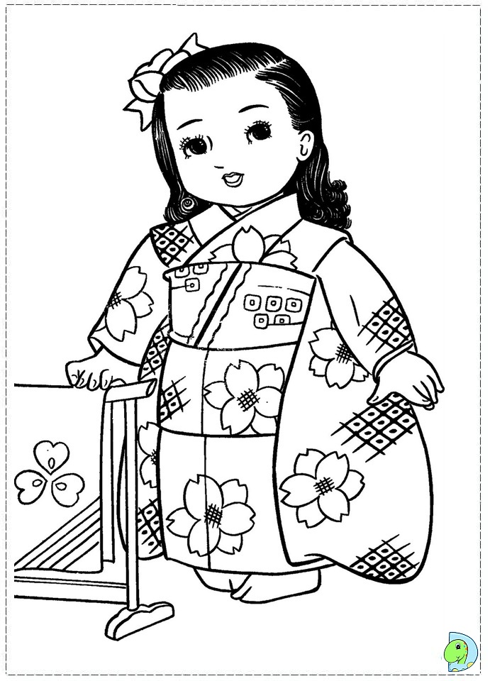 691x960 Japanese Girl Coloring Page