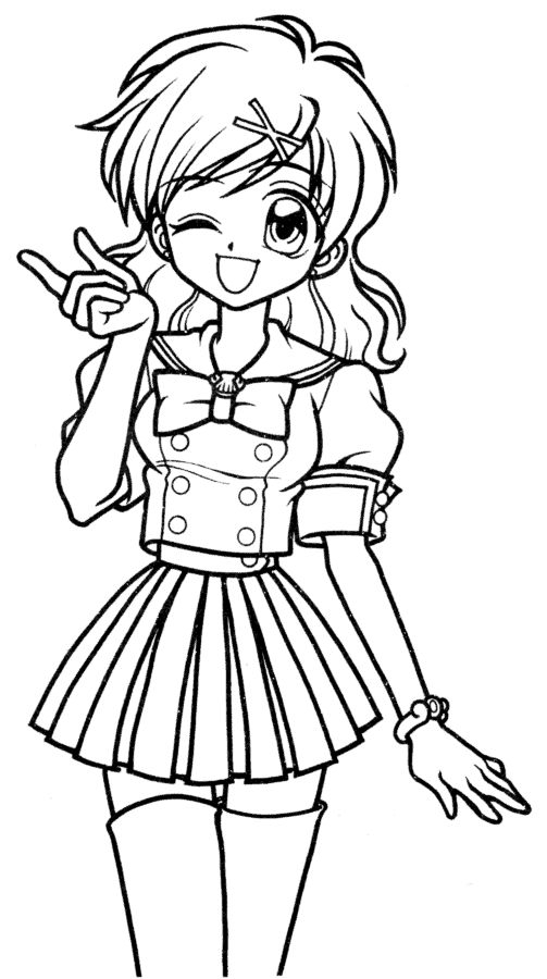 503x900 Manga Girl Coloring Pages Printable Coloring Pages