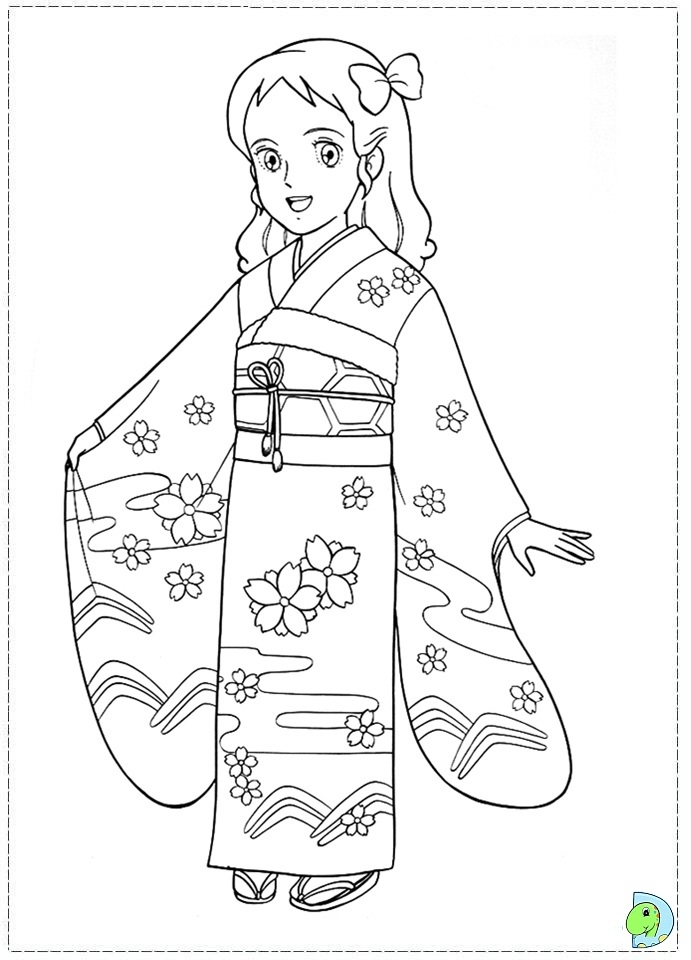 691x960 Japanese Girl Coloring Page Dinokids Japanese Coloring Pages X