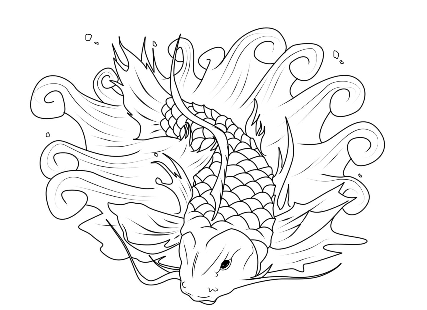 1445x1047 Japanese Koi Coloring Pages
