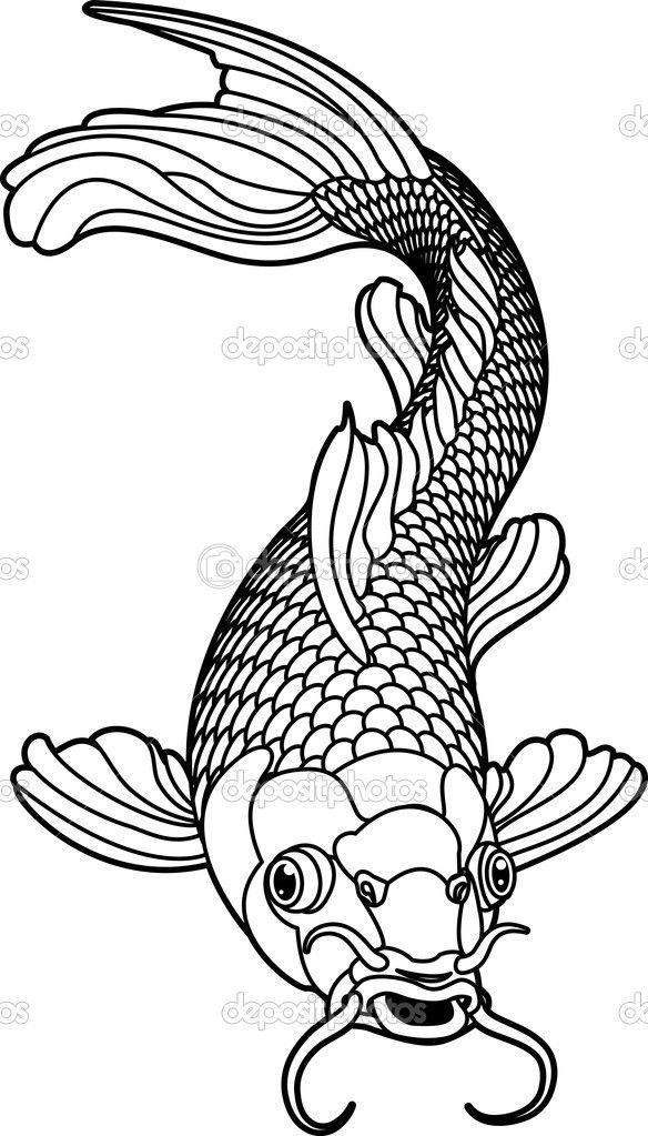 584x1023 Koi Carp Detailed Coloring Page Koi Carp Black And White Fish