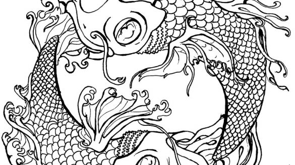 585x329 Tattoo Coloring Pages Printable Japanese Koi Download And Print