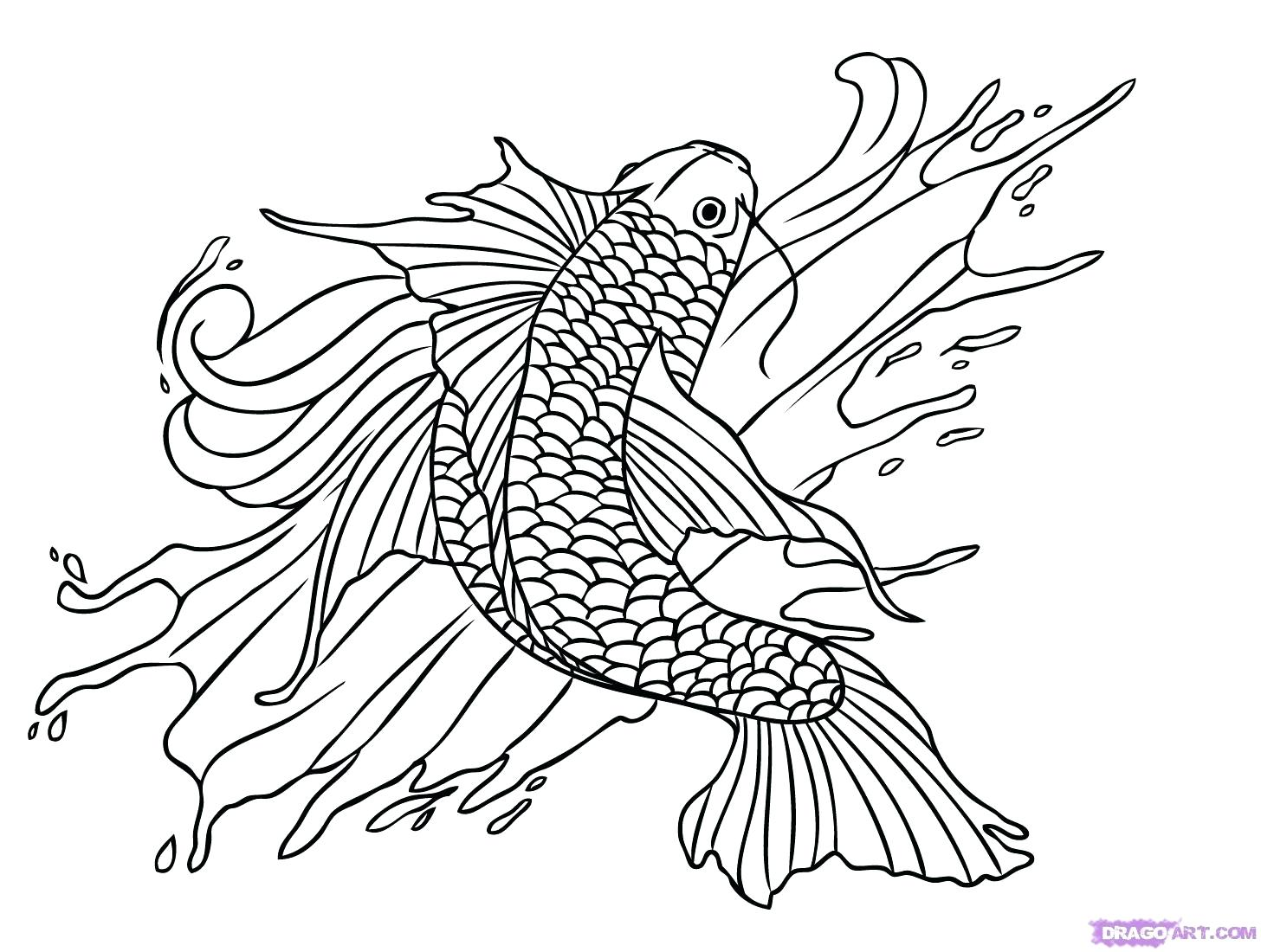 1456x1100 Coloring Pages Christmas For Adults Japanese Koi Fish Detailed