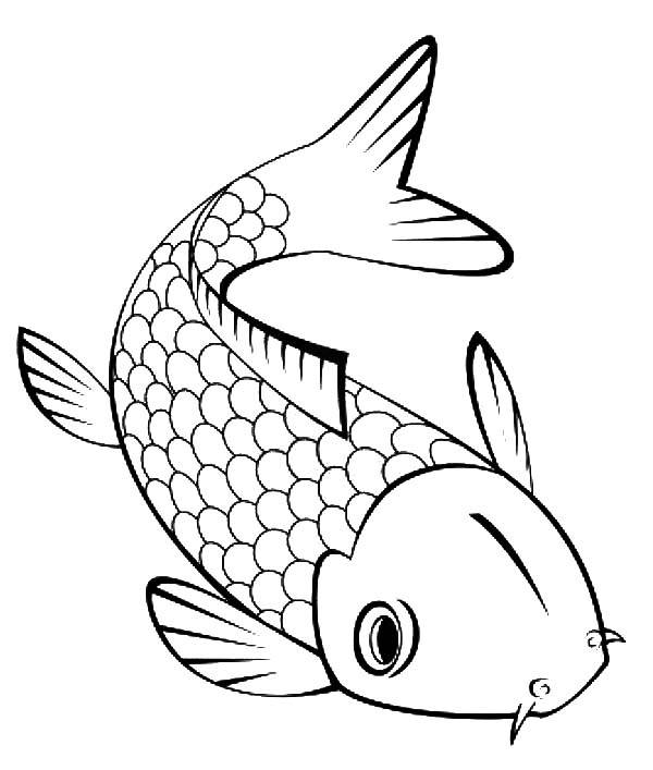 600x707 Cute Little Koi Fish Coloring Pages