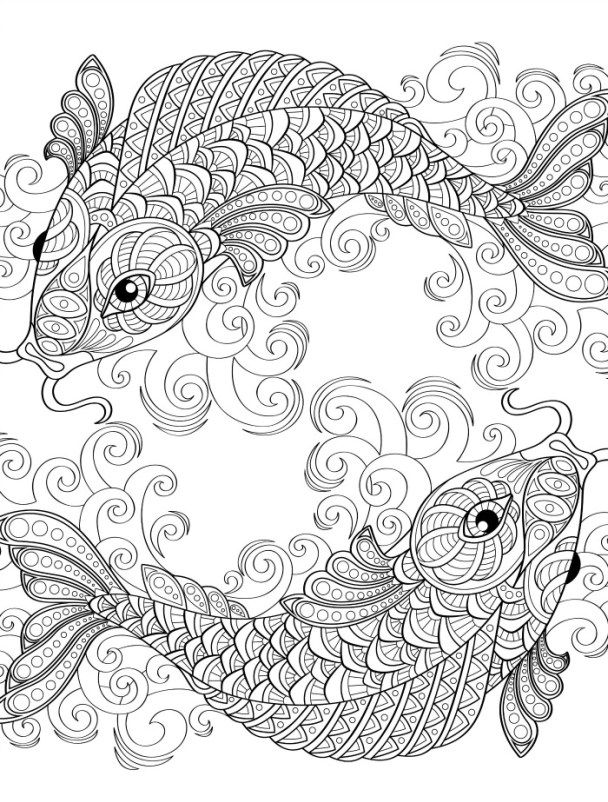 Japanese Koi Fish Coloring Pages