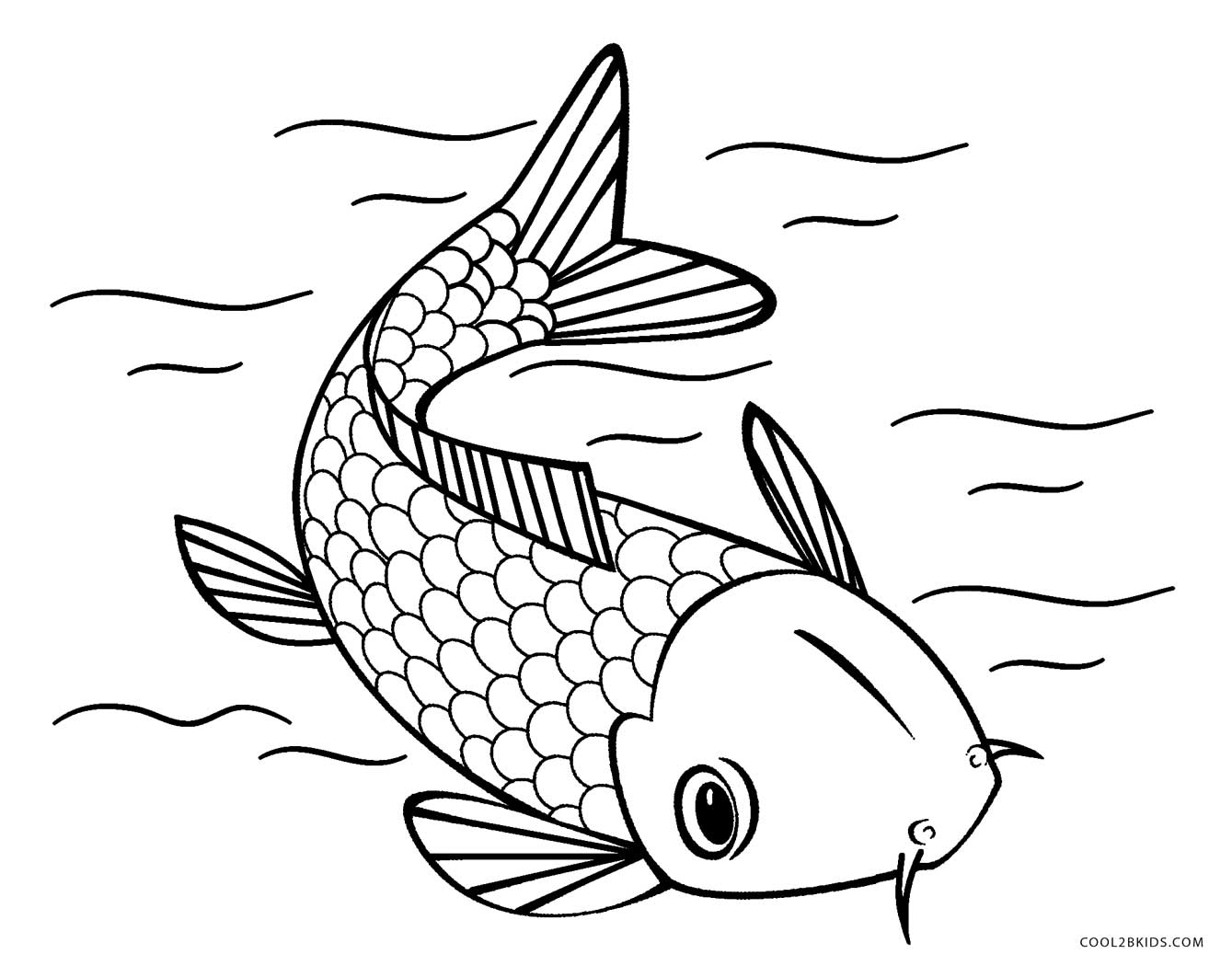 1339x1050 Koi Fish Coloring Page Free Printable Within Pages