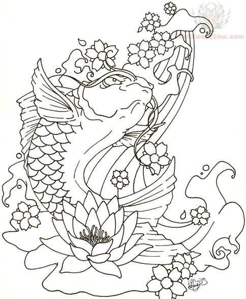 484x587 Tattoo Art Koi Fish