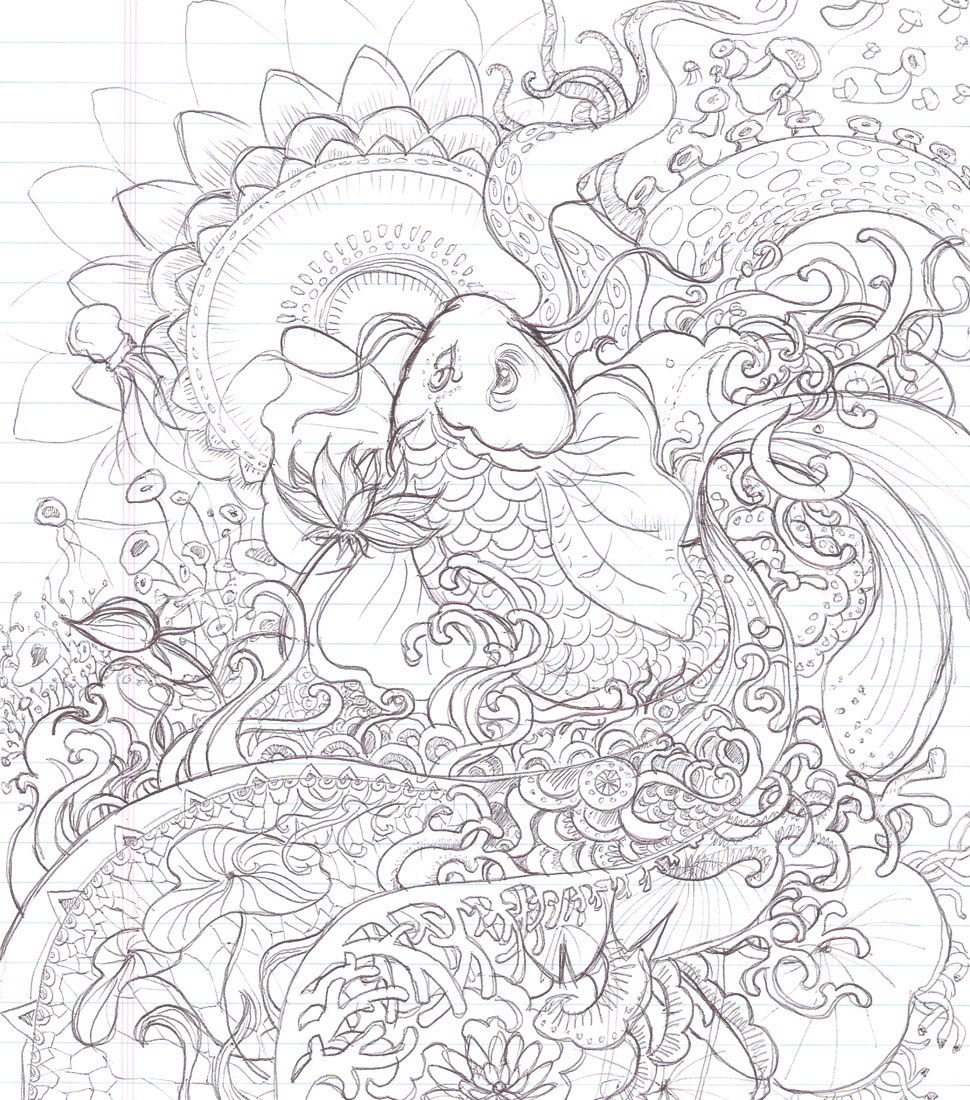 970x1100 Fine Japanese Koi Fish Coloring Pages Elaboration