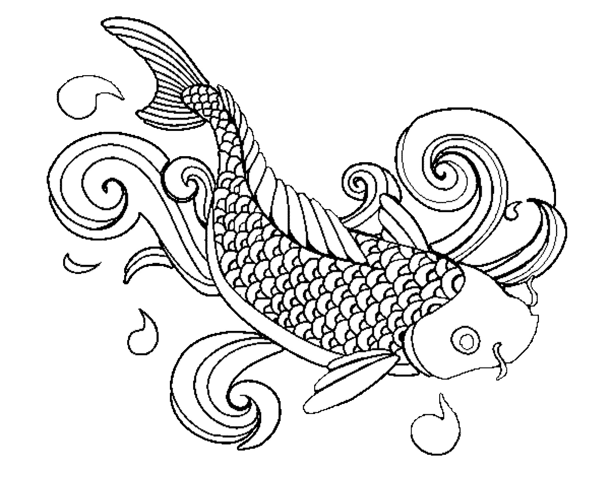 2000x1567 Fish Coloring Pages For Adults Org Printable Fish