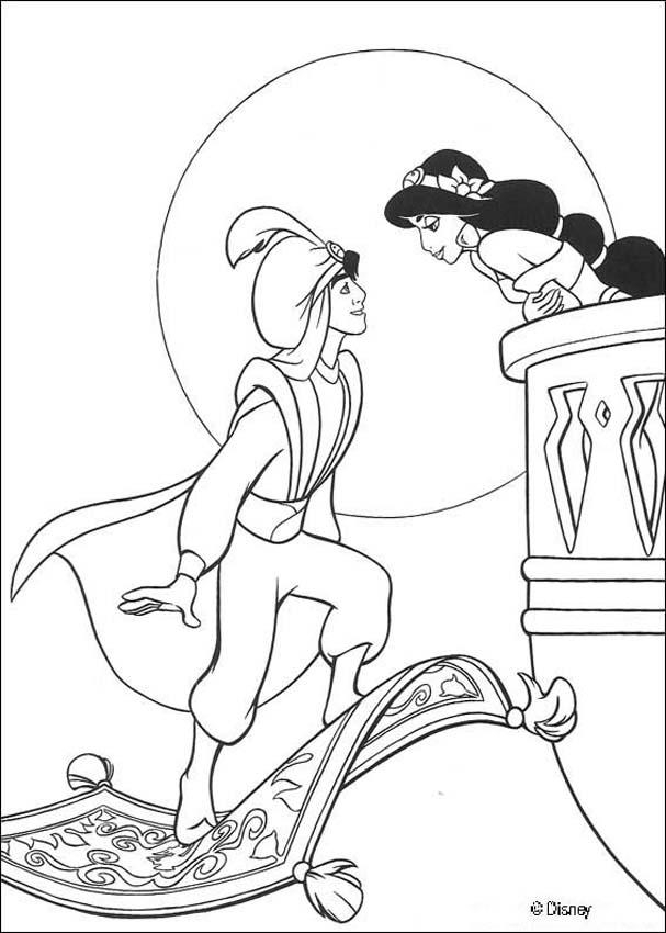 607x850 Aladdin And Jasmine Coloring Pages Aladdin Coloring Pages Free