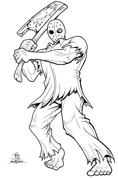 398x600 Jason Voorhees Coloring Pages A On The Jason Voorhees Mask