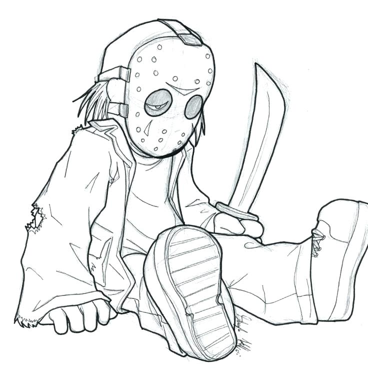 736x742 Jason Voorhees Coloring Pages Gallery Of Coloring Pages Jason