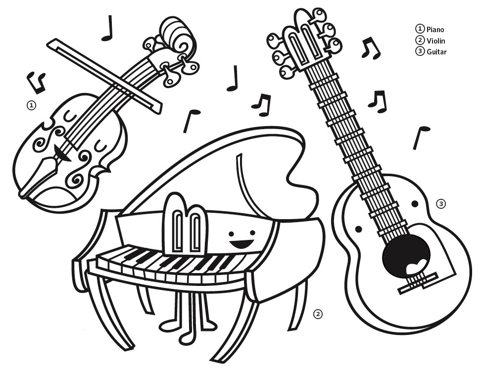 974x754 Coloring Pages Instruments Stylish Decoration Instrument Regarding