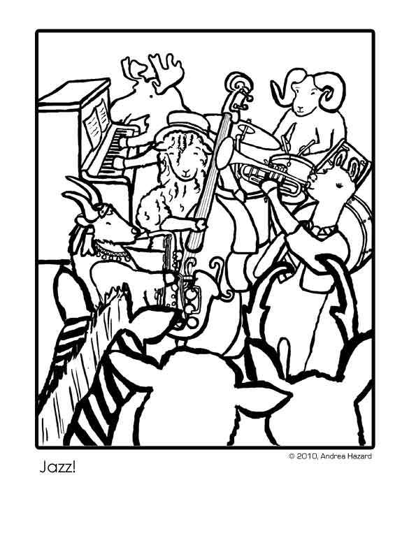 595x770 Jazz Band Coloring Pages