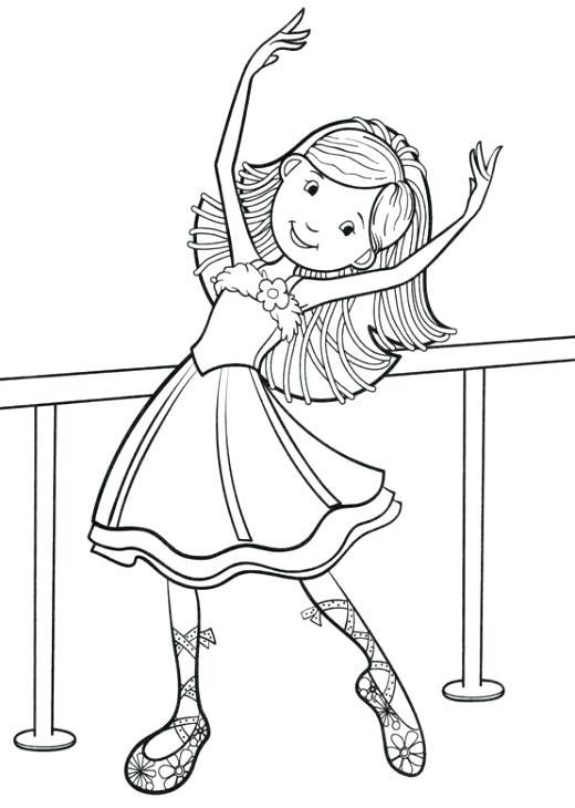 520x730 Dance Coloring Pages Little Ballet Dancer Smiling Coloring Page