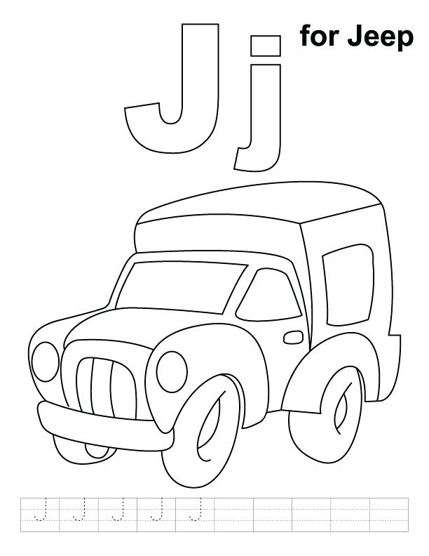 612x792 Jeep Coloring Page J For Jeep Coloring Page With Handwriting