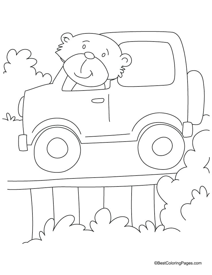738x954 Jeep Coloring Pages Bear Driving The Jeep Coloring Page Jeep