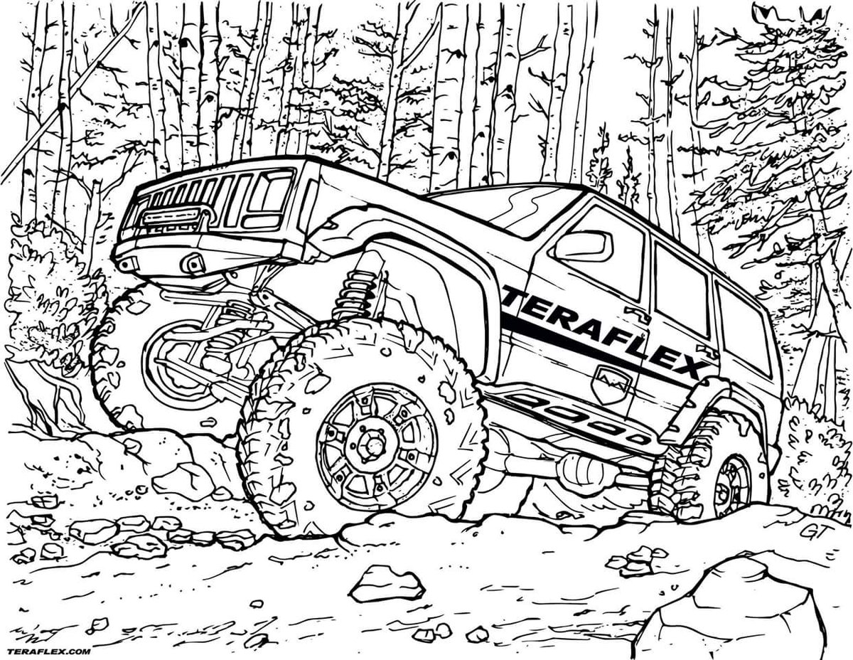 Jeep Wrangler Coloring Pages at GetDrawings | Free download