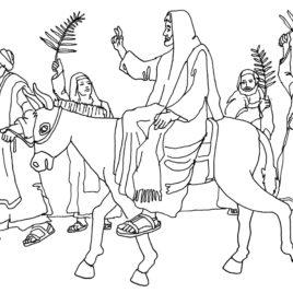 268x268 Free Coloring Page Palm Sunday Jesus Enters Jerusalem Schola
