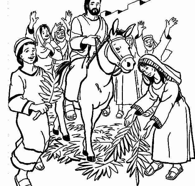 627x600 Impressive Design Palm Sunday Coloring Page Jesus Entry Into