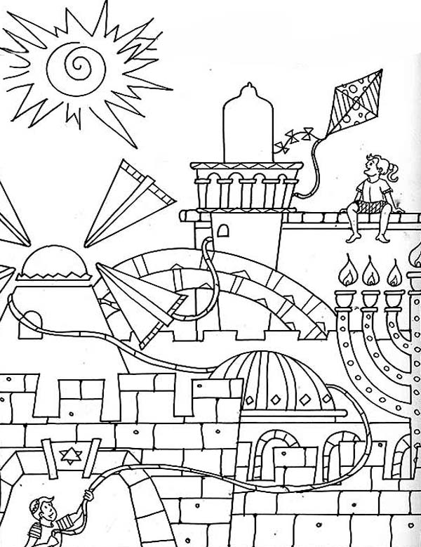 600x779 Jerusalem In Purim Day Coloring Page