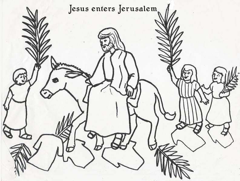 793x600 Jesus Enters Jerusalem Coloring Page