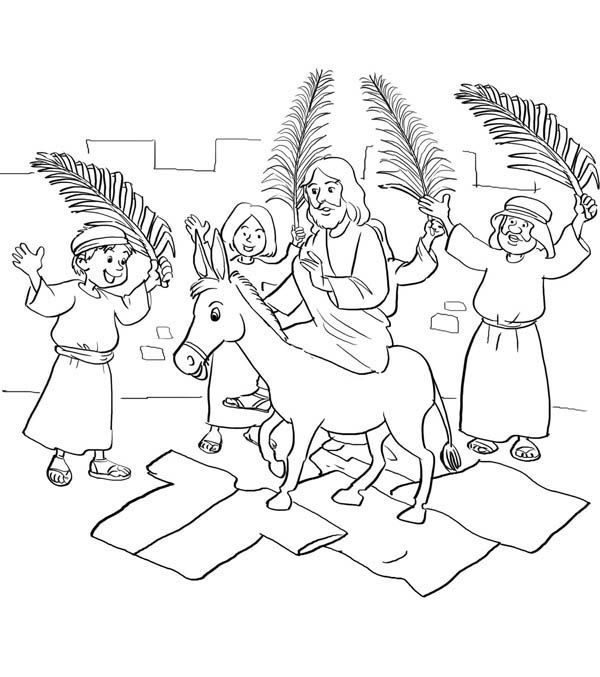 600x677 Palm Sunday, Jesus Entry Into Jerusalem In Palm Sunday Coloring