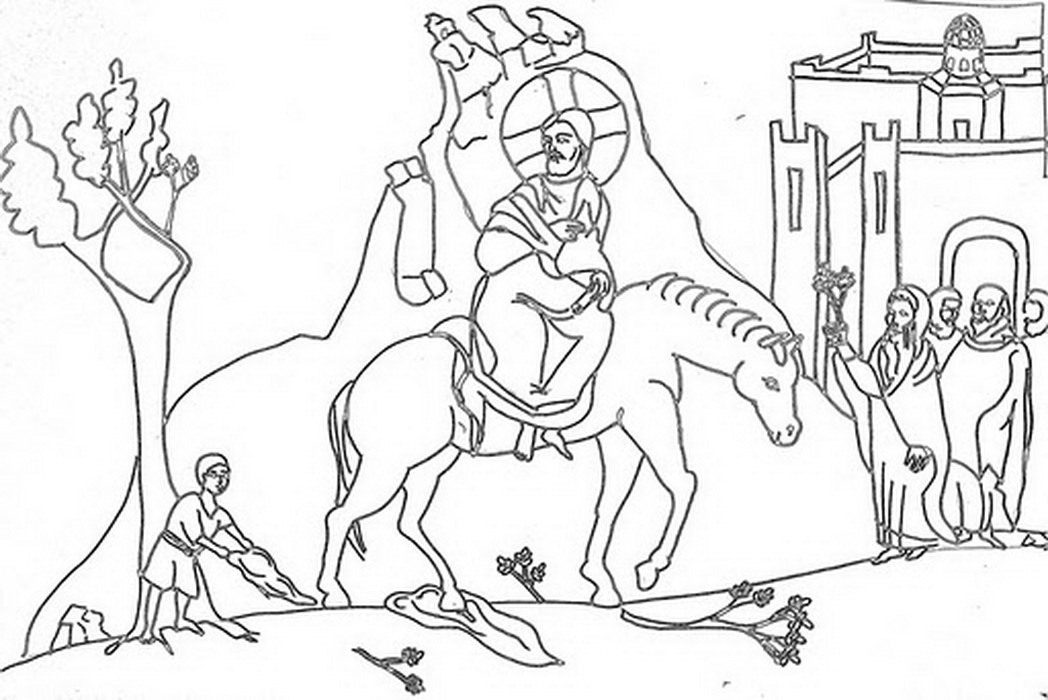 1048x700 Coloring Page Jesus Triumphal Entry Into Jerusalem Palm Sunday