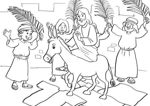 600x425 Jesus Palm Sunday Coloring Page Jesus Entry Into Jerusalem In Palm