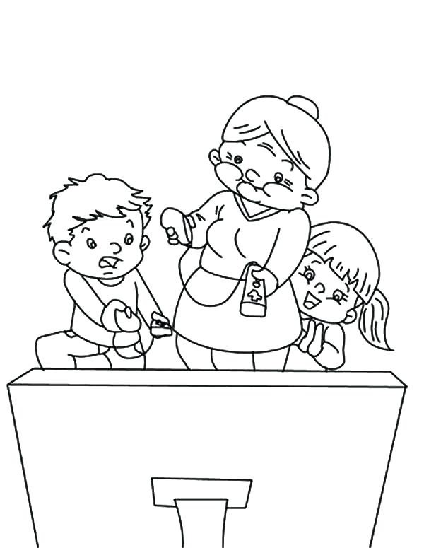 600x775 Tv Coloring Pages Grandmother Turn The On Coloring Pages Friends