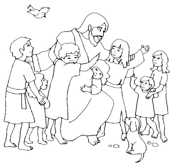 564x532 Jesus And The Children Coloring Page Loves The Little Children