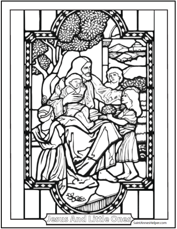 590x762 Jesus And The Little Children Coloring Page