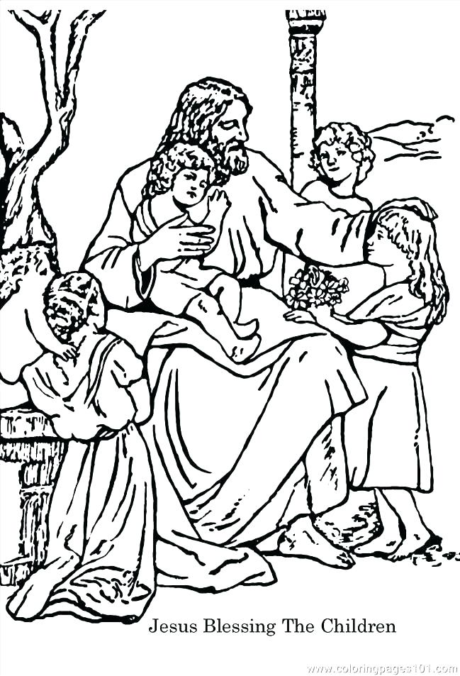649x953 Jesus With Children Coloring Page Loves The Little Children