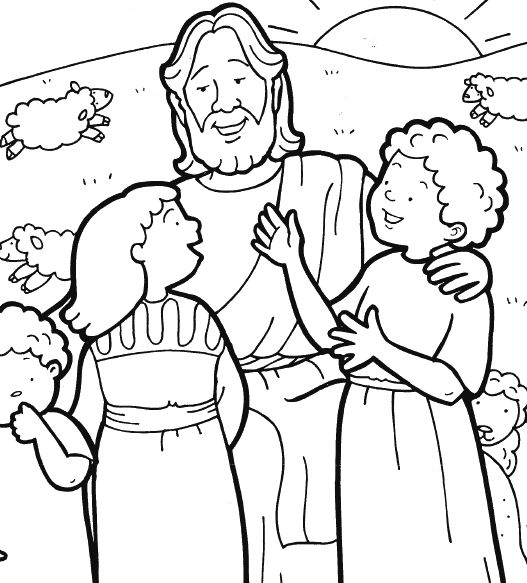 527x583 Jesus With Children Coloring Page Unique Jesus And Children