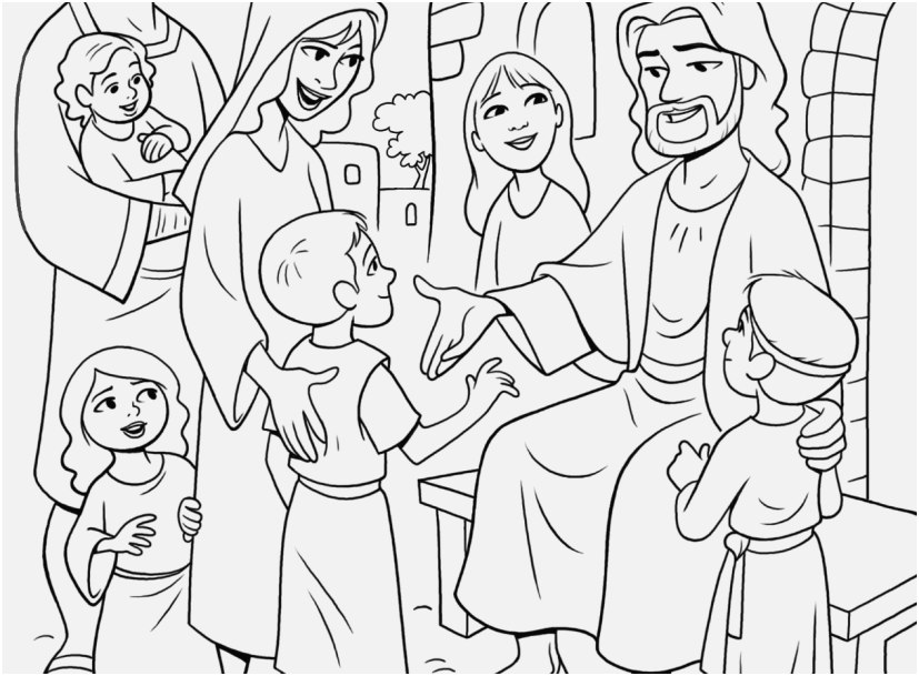827x609 The Suitable Portraits Jesus With Children Coloring Page Special