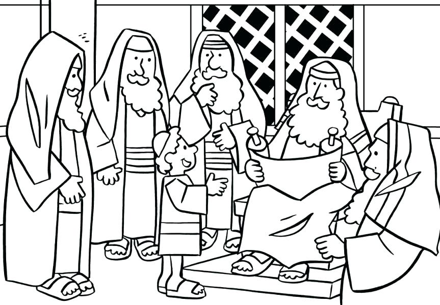 863x599 Jesus At Temple Coloring Page At Temple Craft