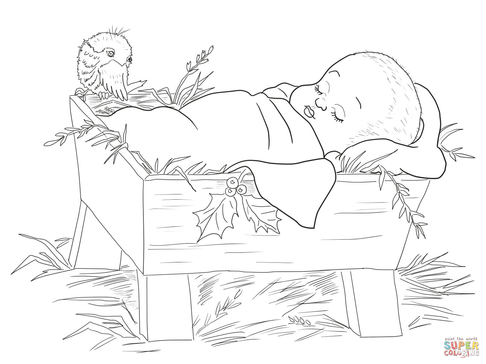 1600x1200 Drawings Of Baby Jesus Baby Jesus In A Manger Coloring Page Free