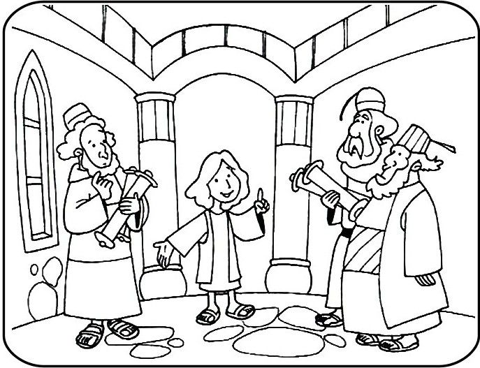 687x527 Jesus Goes To The Temple Coloring Page Superhero Preschool Art